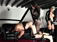 strap-on guy getting fucked by two women