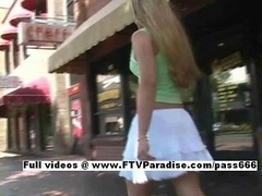 Ingenious Viktoria blonde babe public flashing breasts and additionally pussy