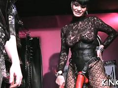 mistress stretches slaves ass fisting