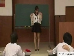 Japanese teacher reluctantly gets naked in front of students