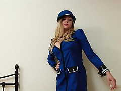 Blonde, Lingerie, Masturbation, Uniforme