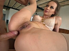 beautiful arina rite gets her wet cunt pounded on the table