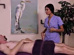 Femdom masseuse queening restrained sub