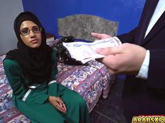 Pretty Arab gal suck a big English cock for a room