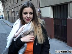 Big boobs amateur Eurobabe Stella Cox pounded for money