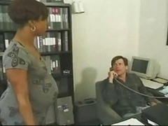 Pregnant Ebony Takes White Cum cannon In The Office