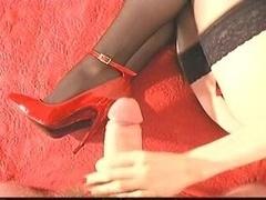 Cumming on red High Heels