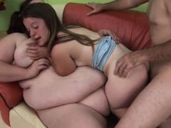 BBW slut and horny midget girl share studs hard dick