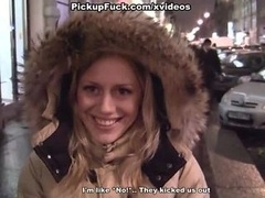 Public make love with a cute blonde
