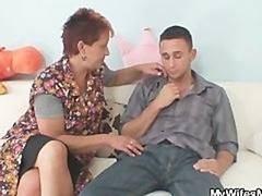 He gets seduced by his GF's mature mom