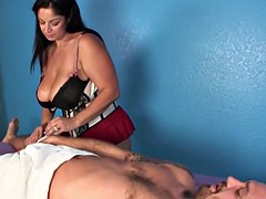 Bigtitted masseuse tugging pathetic client