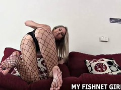Rub your hard cock on my sexy fishnet stockings JOI
