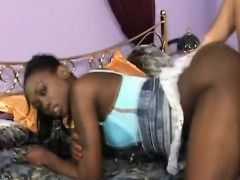 African Teen Gets Banged By White Rod In Doggy Style