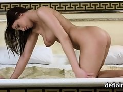Lovely nympho spreads spread pussy and gets deflowered
