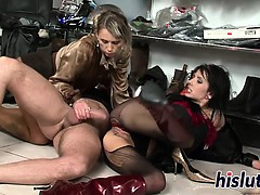 Two classy bitches share a massive dong