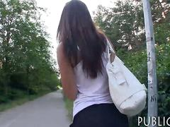 Amateur babe gets pussy fucked in the woods for money