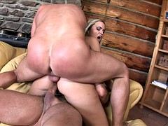 Slut Gets Double Fucked And Creampied