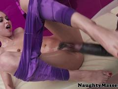 Oiled babe pussy fucked with big black cock