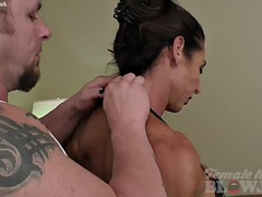 muscular briana beau gives a powerful blowjob