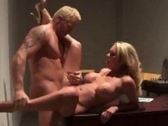 Ravishing blonde has her bald pussy nailed
