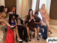 Group of horny singles enjoying oral sex game and fucking