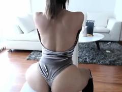 Blonde MILF babe fucks her ass with a dildo on webcam