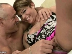 More aged fella toying and besides fisting immature pink slit