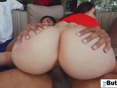 Amazing slut with a big ass is riding a stiff black cock all day long