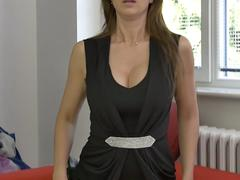 Big titted brunette MILF fooling around