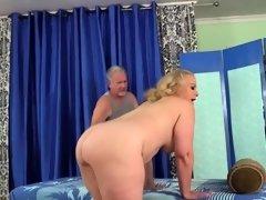 Older Blonde Has Her Body and Genitals Massaged