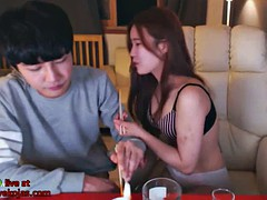 korean bf plays with girlfriend feet in cam
