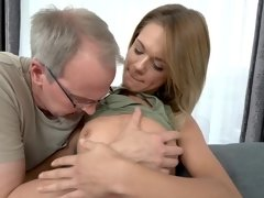 Pretty blonde visits old guy for dose of good fuck