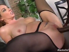 flirtatious white office girl coping with two black cocks in a wild double penetration action