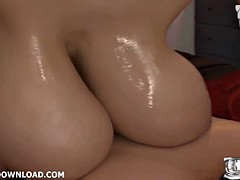 Japanese with big tits giving a massage