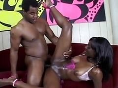 Excited black hoe rubs her tight drenched pussy and gets fucked