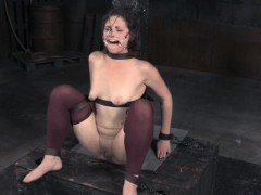 Flogged sub restrained over a sybian