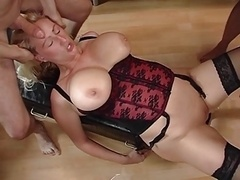 hard group get down and dirty with sexually available mom