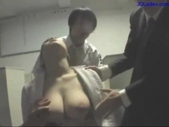 Busty Office Lady Dazzed Jugs Rubbed Muff Fingered Mouth