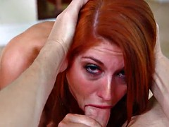 redhead babes with shaved pussy getting facial cumshot indoors