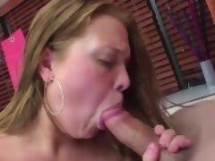 Chubby slut sits on a hard pole