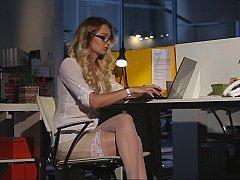 Blondine, Bekleidet, Brille, Lingerie, Nackt, Büro, Strümpfe, Nass