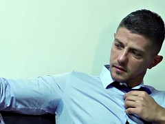 muscle hunk office eating and fucking in the ass