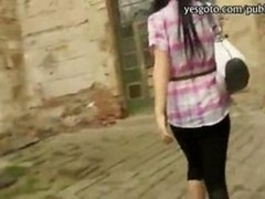 Nasty Czech broad flashes her breasts and besides tush railed by stranger