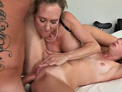 pretty blonde with long hair licking her babes pussy while her pussy is banged hardcore doggystyle in ffm sex