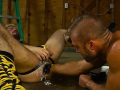 Hairy jock fisting with cumshot