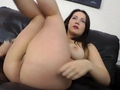 A brunette with large natural tits is doing anal sex today