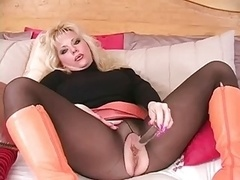 3-11-14 Blondie orange boots and besides black pantyhose