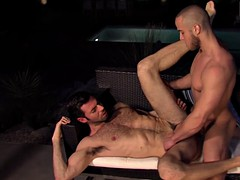 muscular stud Latina seduces muscular jockey