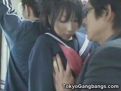 Oriental Schoolgirl Fingered in Public