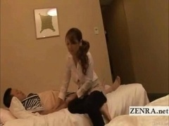 A yukata clad Japanese businessman with a hidden nefarious agenda lies supine on a hotel bed as an attractive busty sexually available mom masseuse